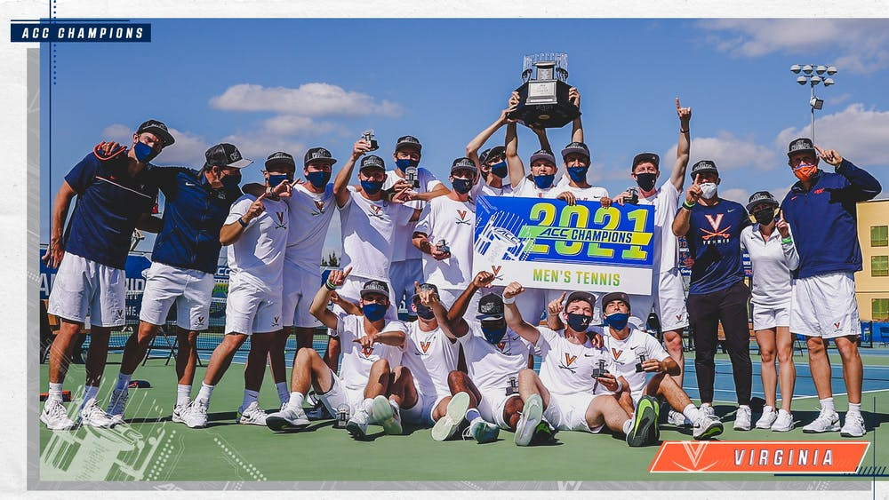 <p>Virginia men's tennis celebrates after earning the program's 13th ACC Tournament title.</p>