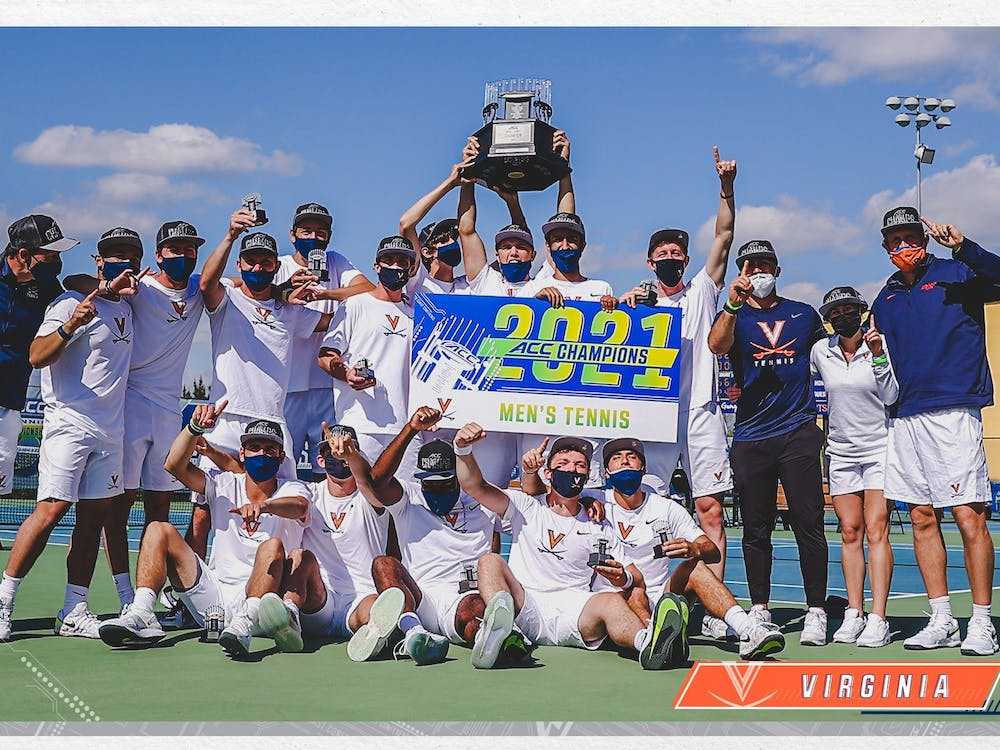 Virginia men's tennis celebrates after earning the program's 13th ACC Tournament title.