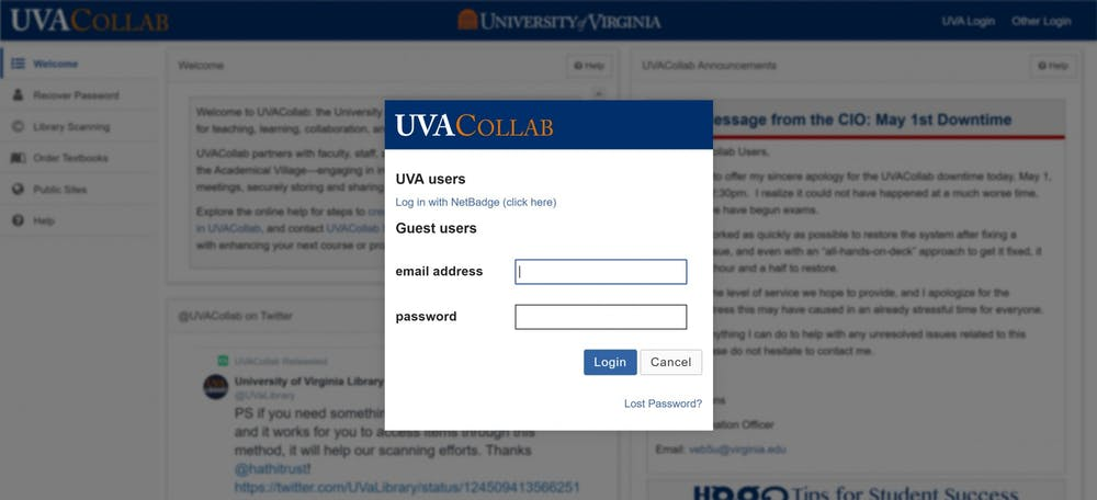 <p>&nbsp;UVACollab suffered a total outage between 1:00 pm and 2:30pm&nbsp;</p>