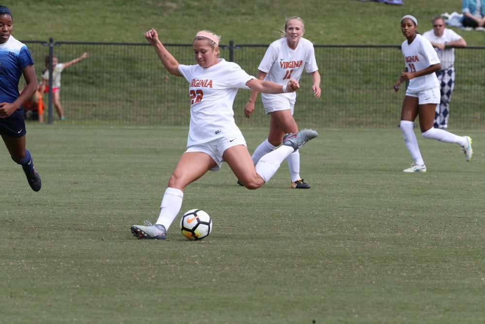 <p>Senior forward Meghan McCool has scored a goal in all but one of Virginia's games this year.</p>