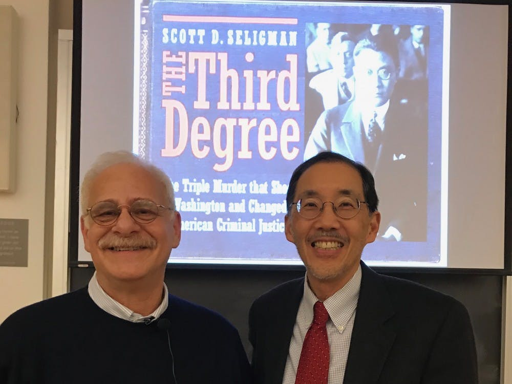 Historian Scott Seligman and Law Prof. George Yin, who is a descendant of Theodore Wong.