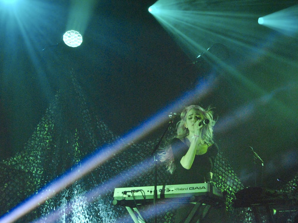 Grimes performed at the Governors Ball Music Festival in New York City in 2014.