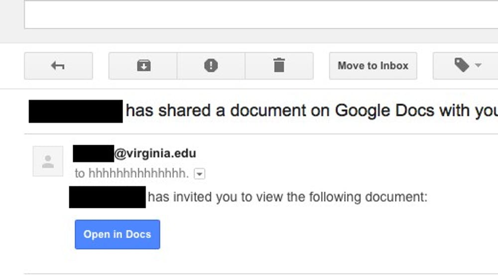 A screenshot of one of the emails circulating among @virginia.edu addresses.