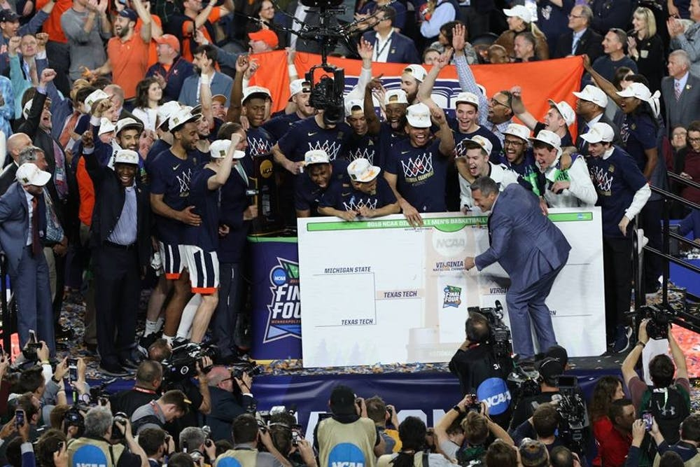 <p>Coach Tony Bennett showed pure joy as he cemented Virginia's place in college basketball history.</p>