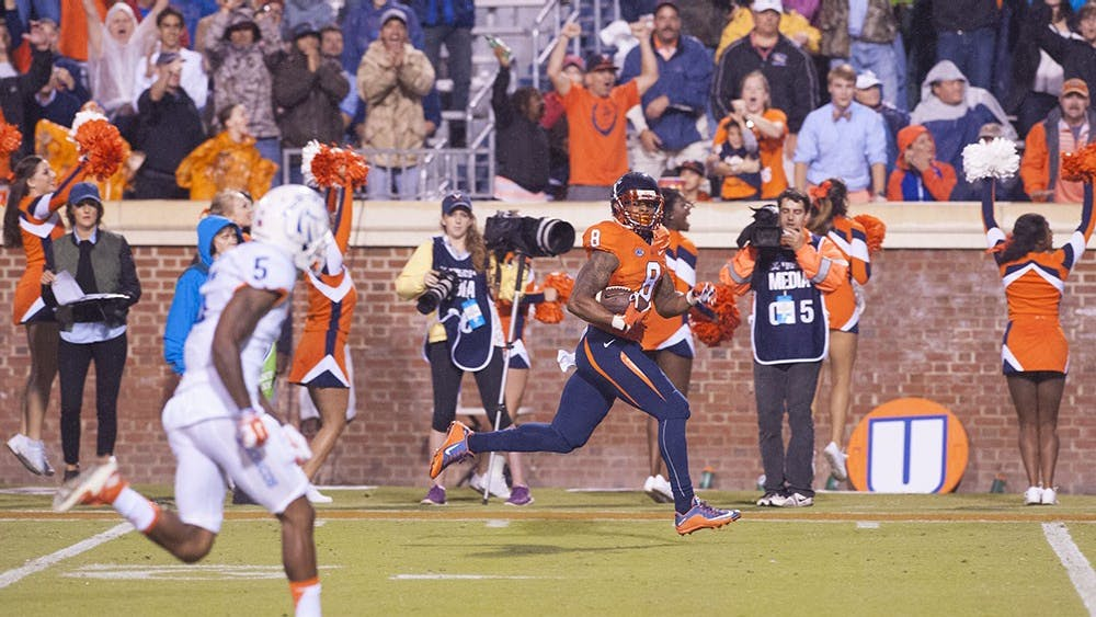 In his first start as a Cavalier, senior wide receiver T.J. Thorpe had a 75-yard touchdown reception. Thorpe, who recently recovered from a broken clavicle, transferred from North Carolina in the offseason.
