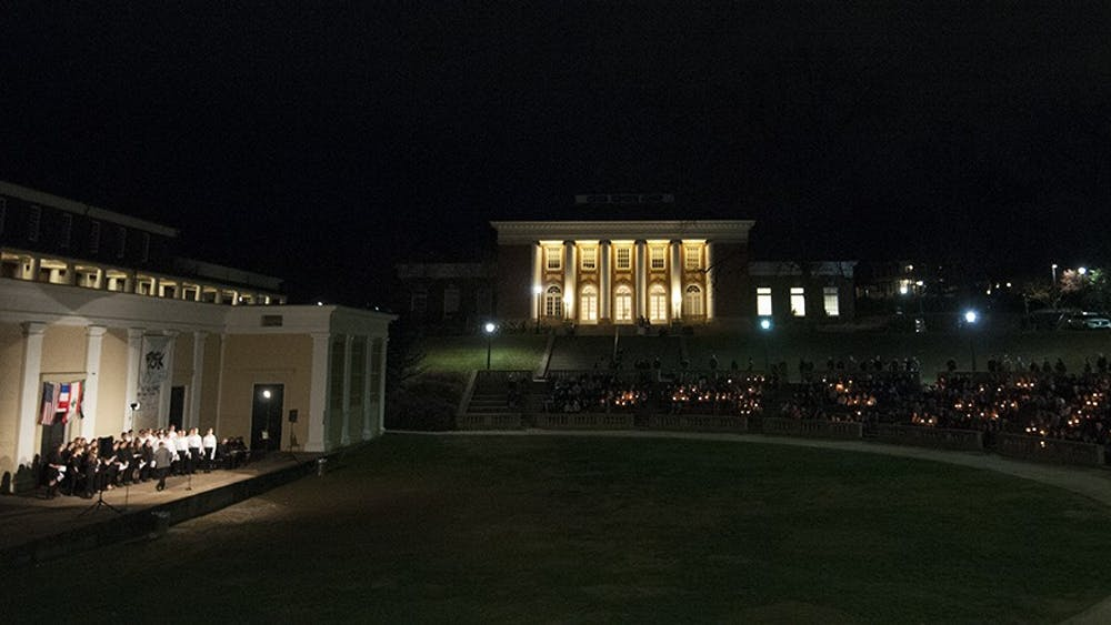 Attendees filled the amphitheater Tuesday in solidarity with those affected by the attacks in Paris and Lebanon.