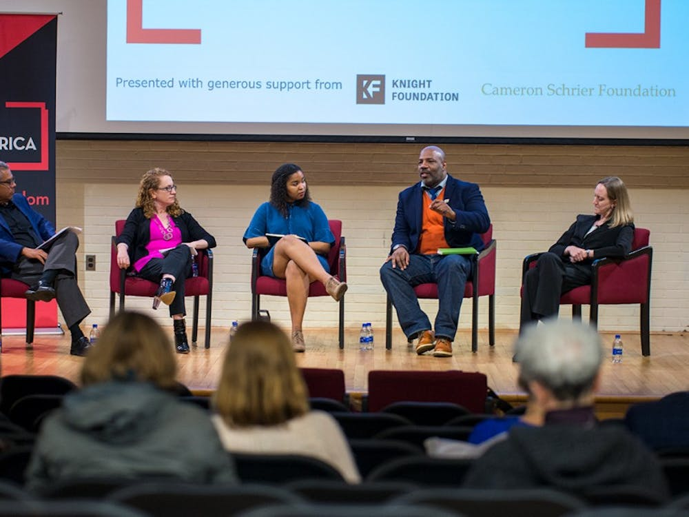 Panelists from left to right: Roger Worthington, Suzanne Nossel, Alexis Gravely, Jelani Cobb and Leslie Kendrick.