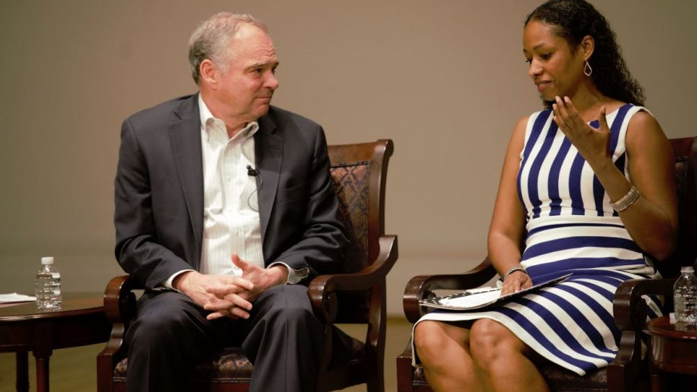 Sen. Tim Kaine and Larycia Hawkins, a visiting professor in the Department of Politics and a panelist at Friday's event, spoke about the complexity of listening to groups who may convey hateful speech.