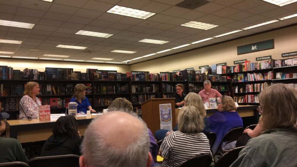 Authors of LGBTQI romance Samantha Boyette, D. Jackson Leigh and Radclyffe sat for a panel with Sandy Lowe, senior editor of Bold Strokes Books, as part of Virginia Festival of the Book.