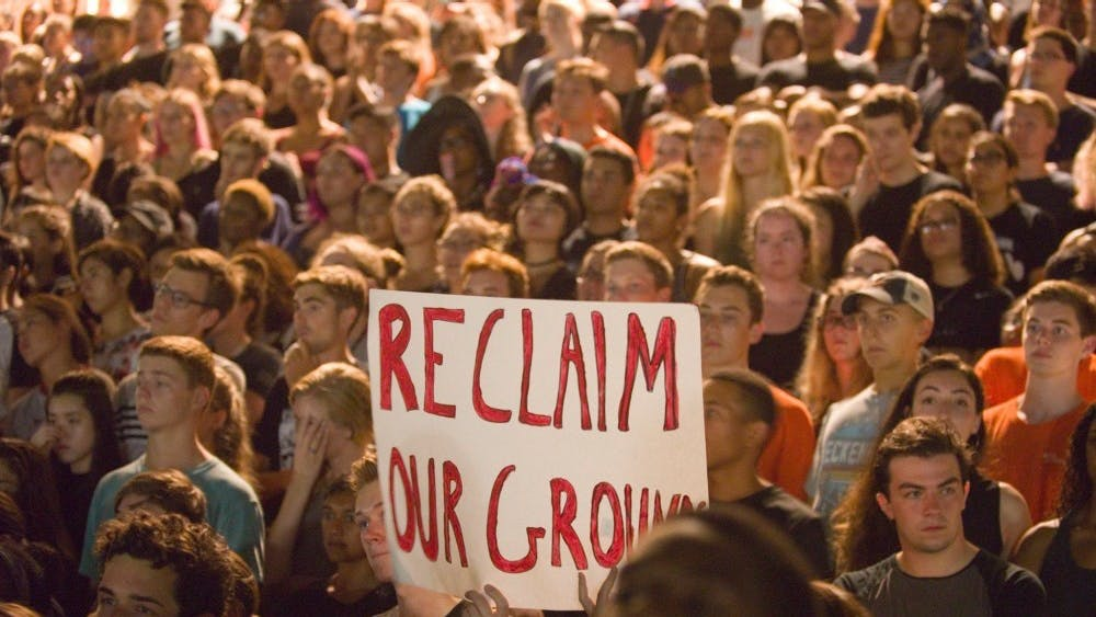 """Students participated in a """"March to Reclaim Our Grounds"""" in response to the white supremacist rallies over the summer."""