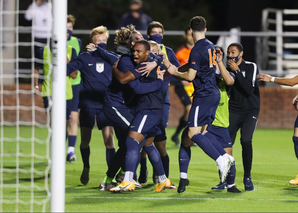 <p>The Cavaliers celebrate their 300th win at Klockner Stadium and first win of the 2020 season after sophomore forward Philip Horton scored with 1:05 remaining in the second period of overtime.&nbsp;</p>
