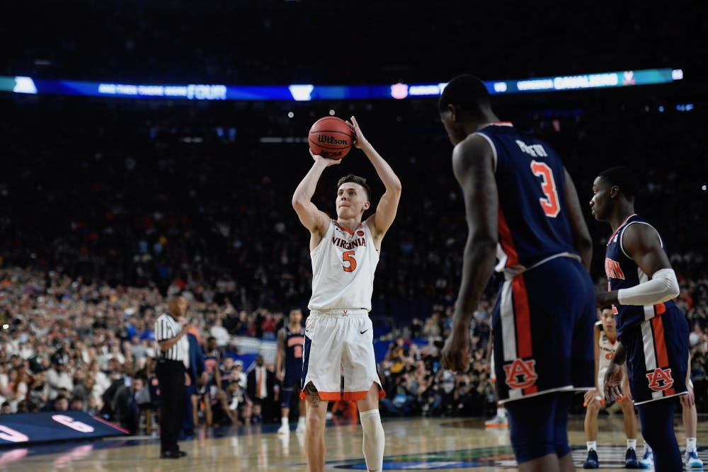 <p>Junior guard Kyle Guy sank three free throws to send the Cavaliers to the National Championship.</p>