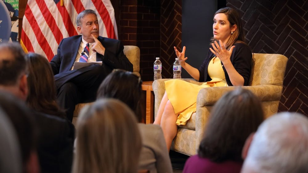 The event began with a brief discussion between Brennan and Larry Sabato, Center for Politics director and professor of politics, followed by an opening of the floor to questions from the audience.