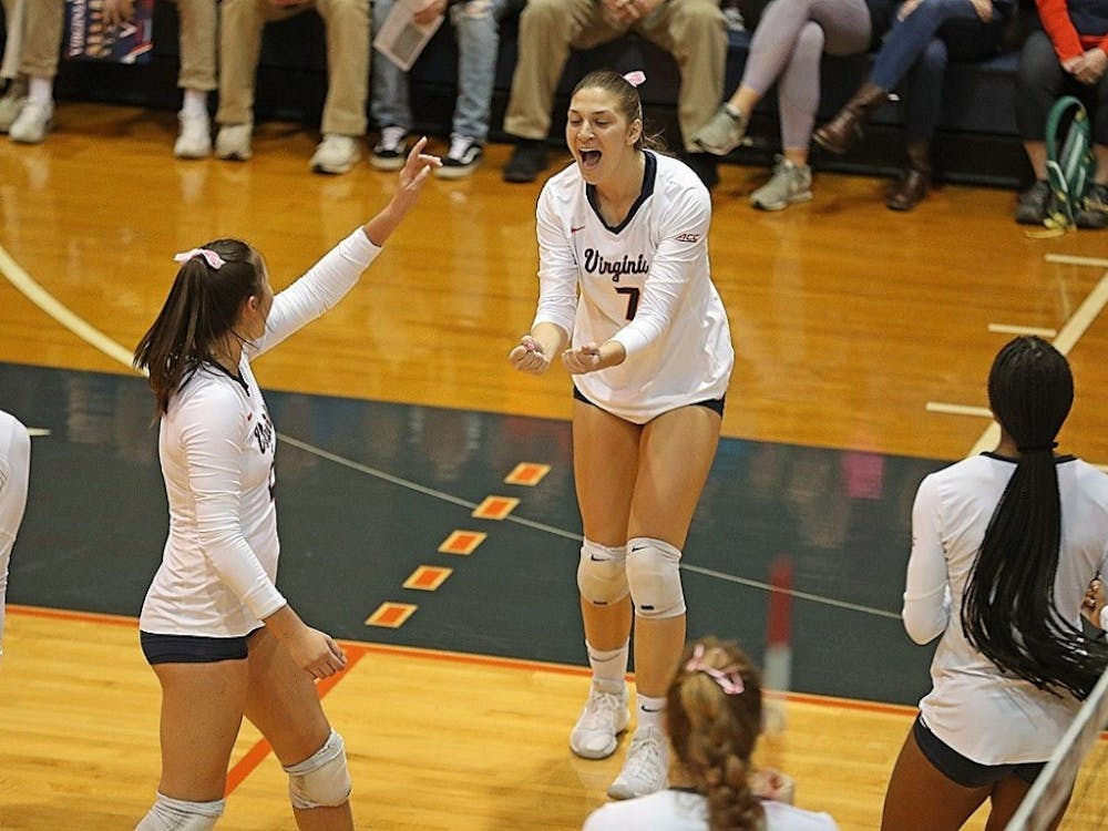 Senior right-side hitter Jelena Novakovic led all Virginia players with 10 kills against Liberty.