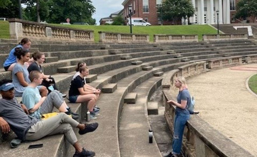 <p>Before the University reopened its undergraduate admissions tours to the public, the University Guides practiced their tours with each other to ensure a smooth performance by June 14.</p>