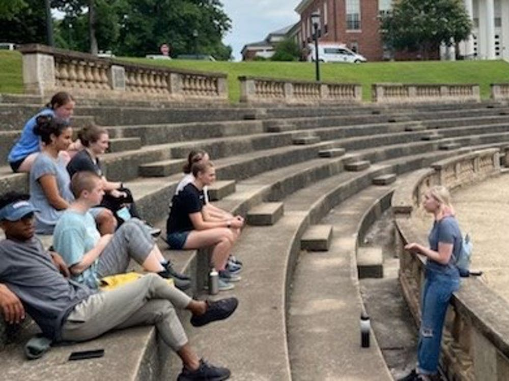 Before the University reopened its undergraduate admissions tours to the public, the University Guides practiced their tours with each other to ensure a smooth performance by June 14.