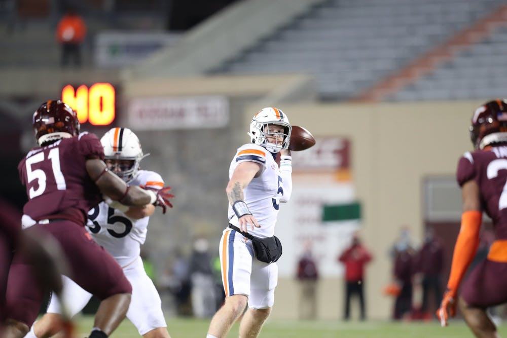 <p>Sophomore quarterback Brennan Armstrong struggled to get anything going on the ground, rushing for just 51 yards on 15 attempts.&nbsp;</p>