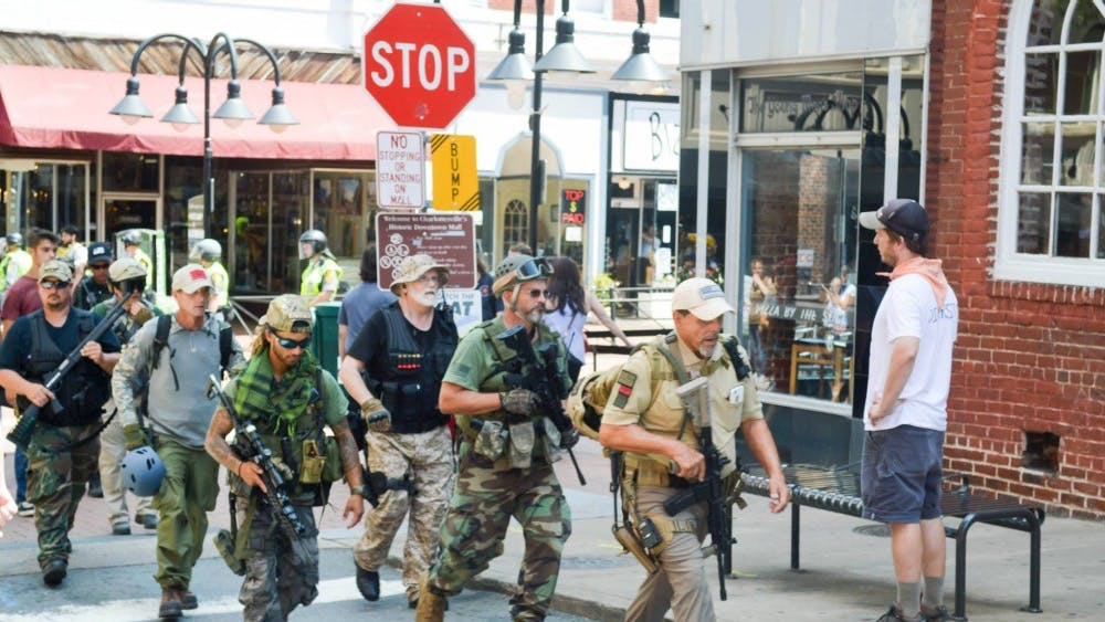 The lawsuit seeks a court order preventing private militia groups from engaging in paramilitary activity in Virginia.