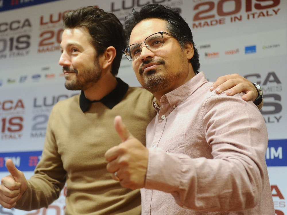 'Narcos: Mexico' cast members Diego Luna and Michael Peña at Lucca Comics & Games in 2018.