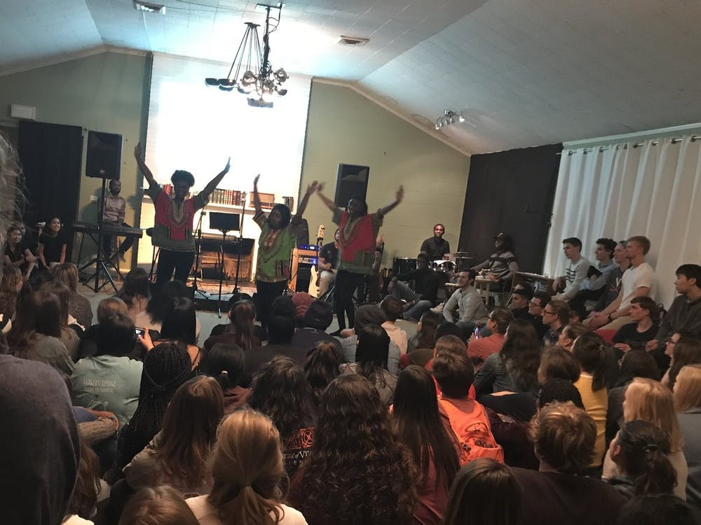 Frequently, audience members danced, sang, clapped and prayed aloud along with the performers. All members of the University community were welcome.