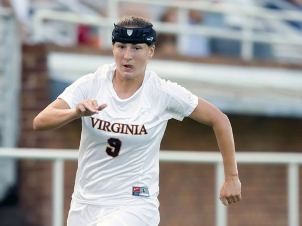 Virginia Cavaliers forward Lauren Alwine (9) in action against Loyola.  The #6 Virginia Cavaliers defeated the Loyola College Greyhounds 4-0 in a NCAA Women's Soccer game held at Klockner Stadium on the Grounds of the University of Virginia in Charlottesville, VA on August 22, 2008.