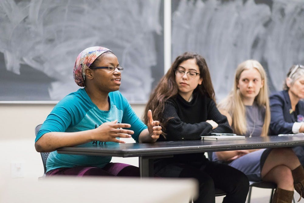 <p>Keiara Price, the newly-elected BSA president and a second-year College student, speaking at a panel on March 19.&nbsp;</p>