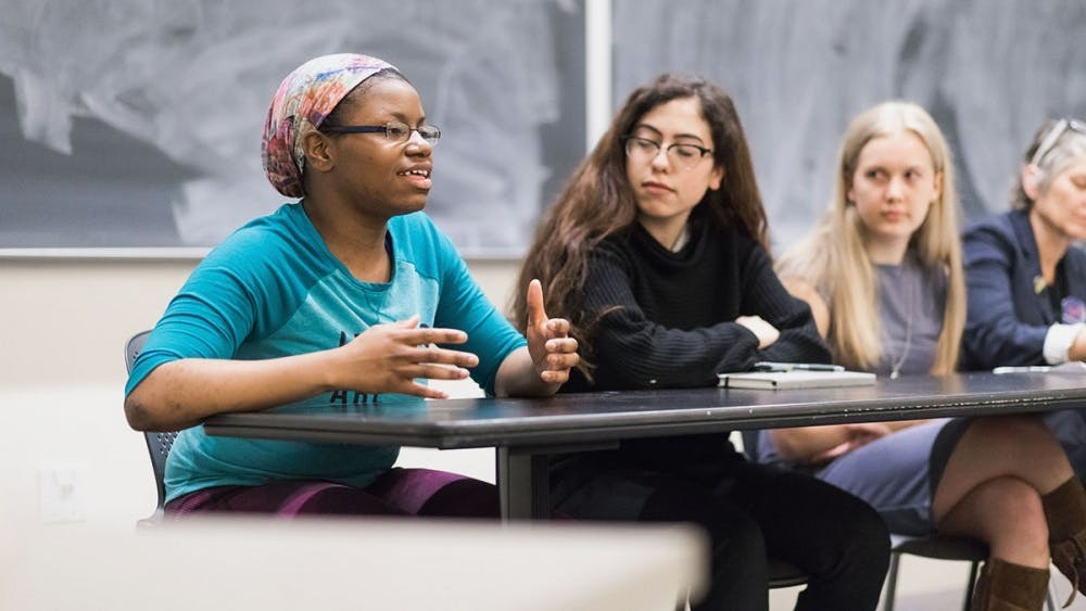 Keiara Price, the newly-elected BSA president and a second-year College student, speaking at a panel on March 19.