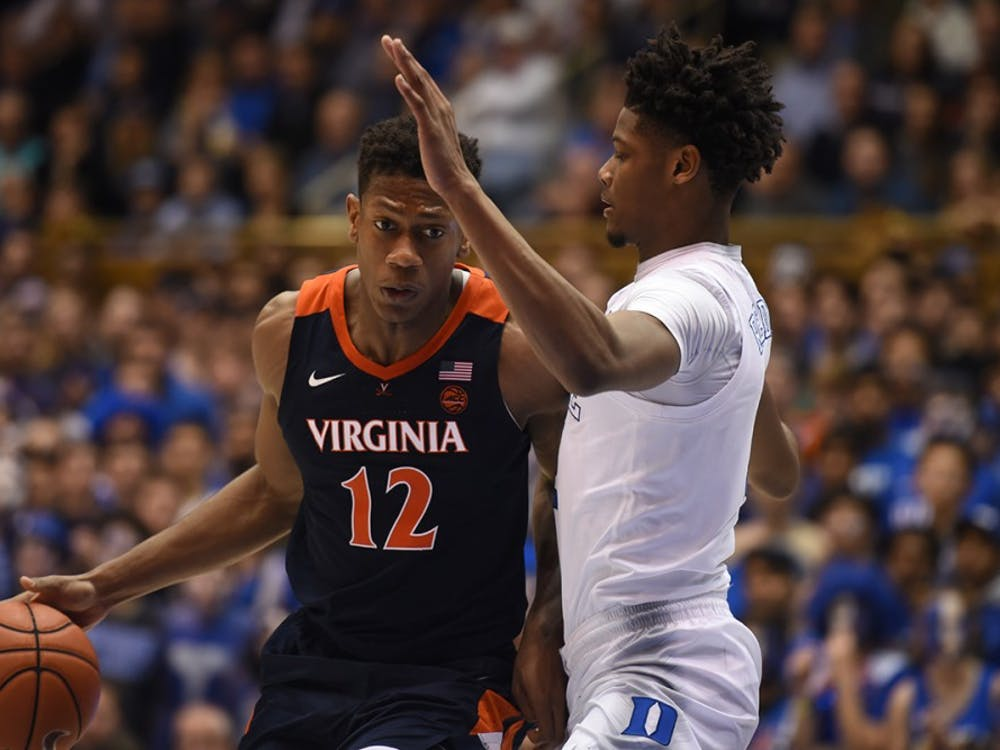 Redshirt sophomore De'Andre Hunter led Virginia in scoring with 18 points.