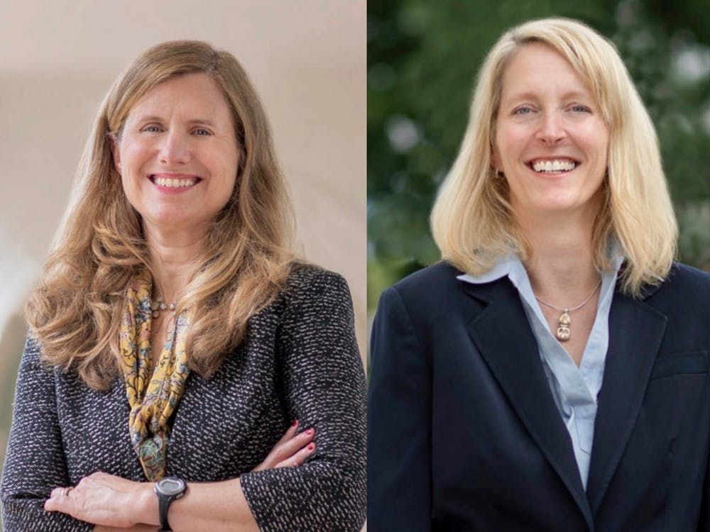 """M. Elizabeth """"Liz"""" Magill (left) will serve as executive vice president and provost, and Jennifer """"J.J."""" Wagner Davis (right) will be executive vice president and chief operating officer. They will be the first women to hold these positions at U.Va."""
