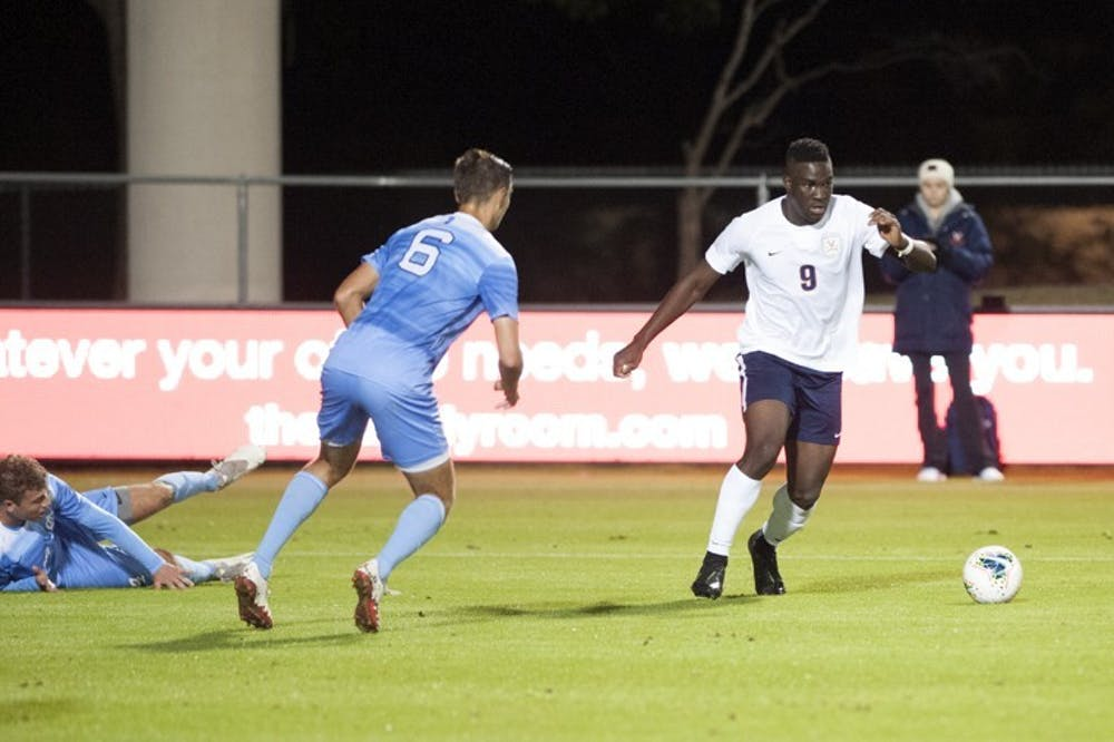 <p>Daryl Dike tallied his 10th goal of the season Sunday night to help Virginia draw level with Georgetown late in the championship game.</p>