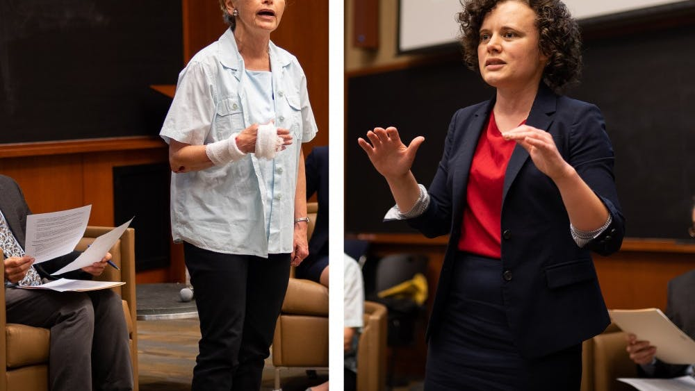 Democratic candidates for the 57th District seat Kathy Galvin (left) and Sally Hudson (right) debate ahead of the primary election, which is scheduled for June 11.