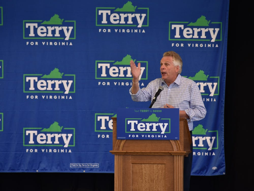 Former Governor and current gubernatorial candidate Terry McCauliffe speaks to a crowd at Get Out the Vote event at the Ting Pavilion.