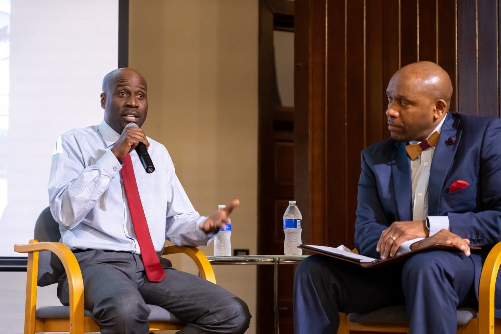 <p>Artist Bayeté Ross Smith talks on Oct. 16 at the Jefferson School African American Heritage Center with Kevin MacDonald, the University's Vice President of Diversity, Equity and Inclusion.</p>