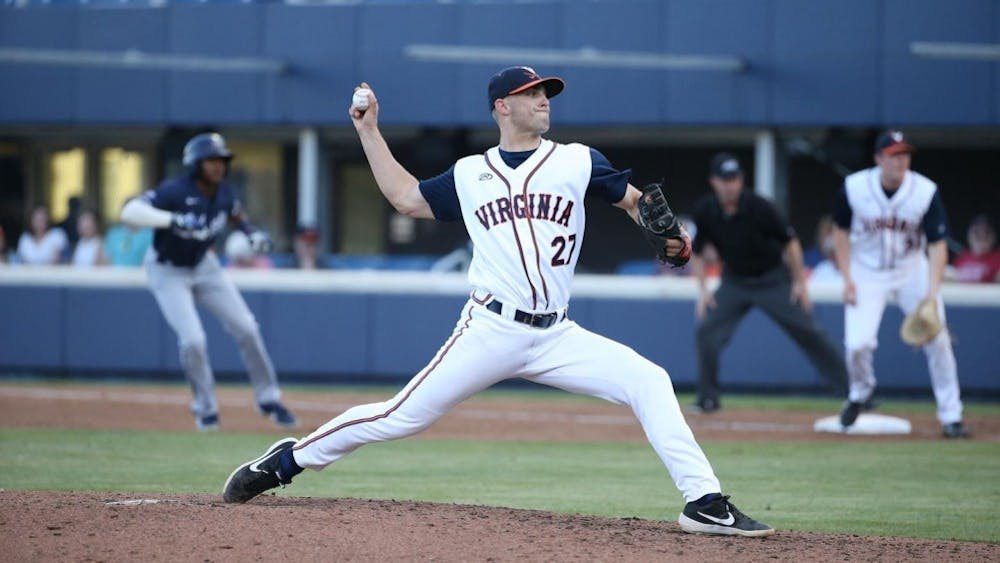 Senior right-hander Chesdin Harrington pitched a career-high five innings of relief without giving up a run in Virginia's loss Saturday.