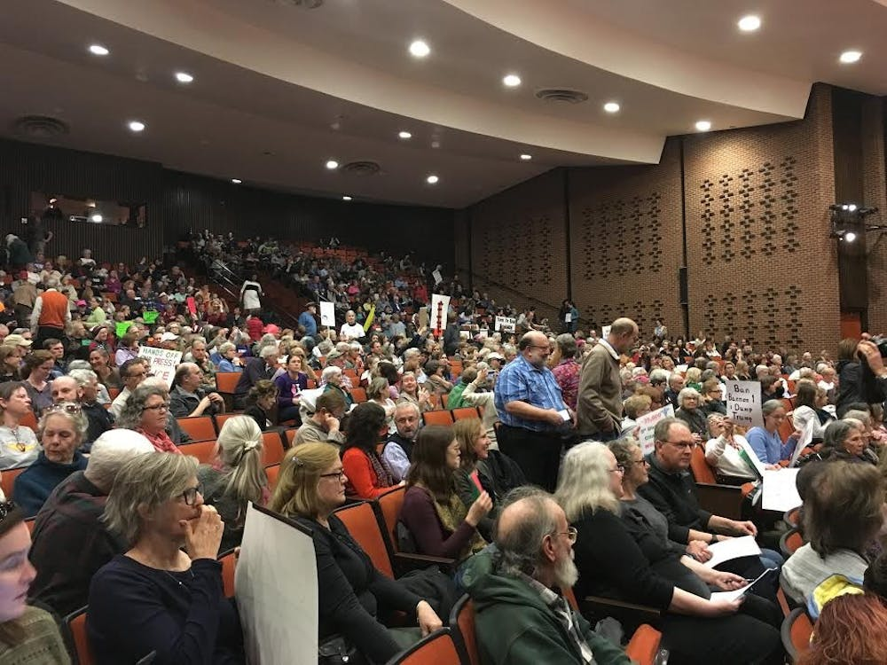 <p>Town hall attendees packed the Martin Luther King Jr. Performing Arts Center on Sunday afternoon.&nbsp;</p>