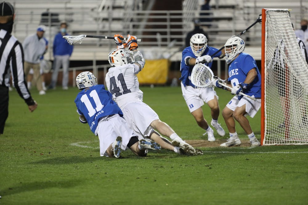 <p>Graduate student attackman Charlie Bertrand looked to have the game-winning goal with seven seconds left in regulation, but the two-time Division II Player of the Year was called for falling into the goal mouth, nullifying the goal.&nbsp;</p>