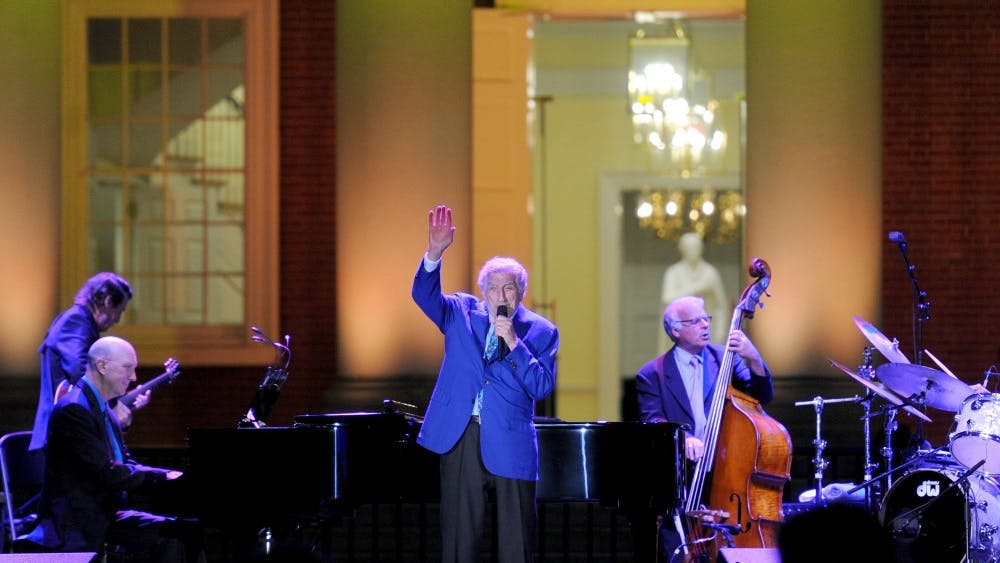 "Tony Bennett performs in front of the Rotunda at the ""Honor the Future"" campaign event."