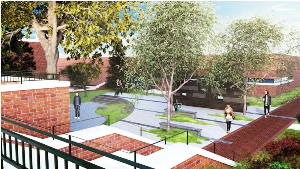 The garden will be located between Clemons Library and Newcomb Hall.