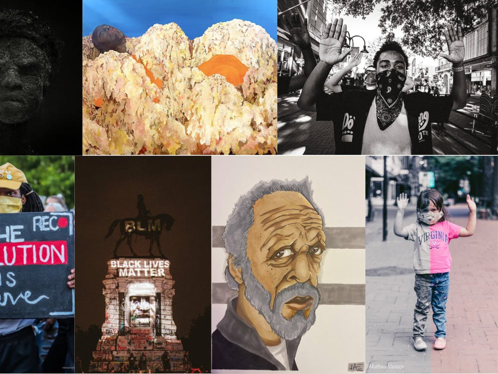 The slideshow will be on display for an indefinite period of time in front of Splendora's Gelato on the Downtown Mall, sundown to sunrise. It includes artwork — shown above, clockwise from top left — by Tobiah Mundt, Sahara Clemons, Eze Amos (1),  Matthew Vanison, Jae Johnson, Eze Amos (2) and Marley Nichelle.