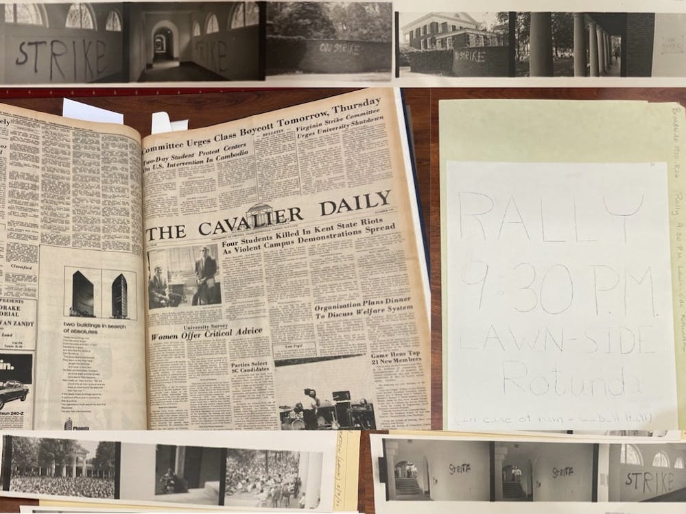 Top and bottom: graffiti on the Rotunda during the May Days protests Center left: protest coverage by The Cavalier Daily Center right: student poster for one of the rallies held at the University