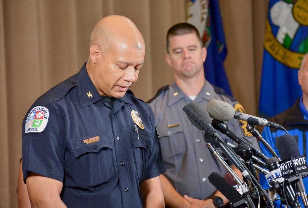 <p>Former Charlottesville Police Chief Al Thomas speaking at a press conference after the Unite the Right rally on Aug. 12.&nbsp;</p>