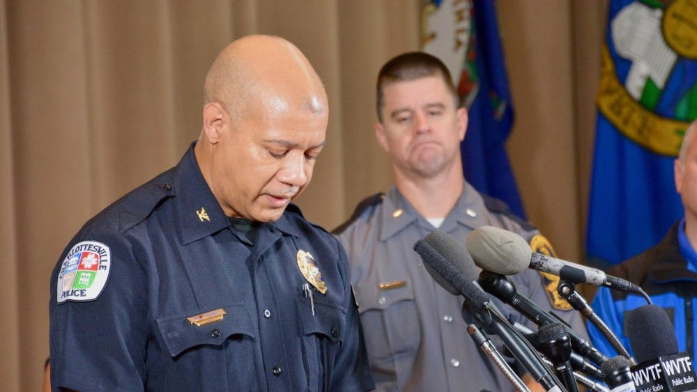 Former Charlottesville Police Chief Al Thomas speaking at a press conference after the Unite the Right rally on Aug. 12.