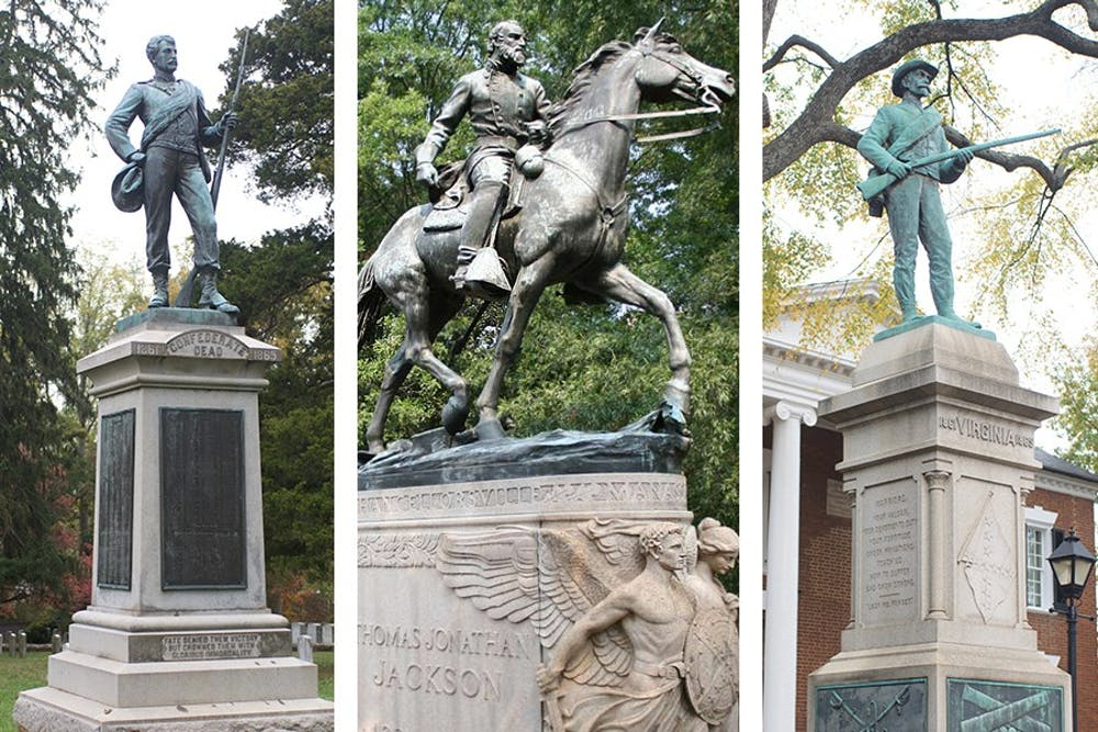 <p>Statue of a soldier in the Confederate Cemetery near Grounds (left), Stonewall Jackson statue in Justice Park (center), and statue of an unnamed Confederate soldier with a carved Confederate flag outside the Albemarle County Circuit Court courthouse (right).</p>