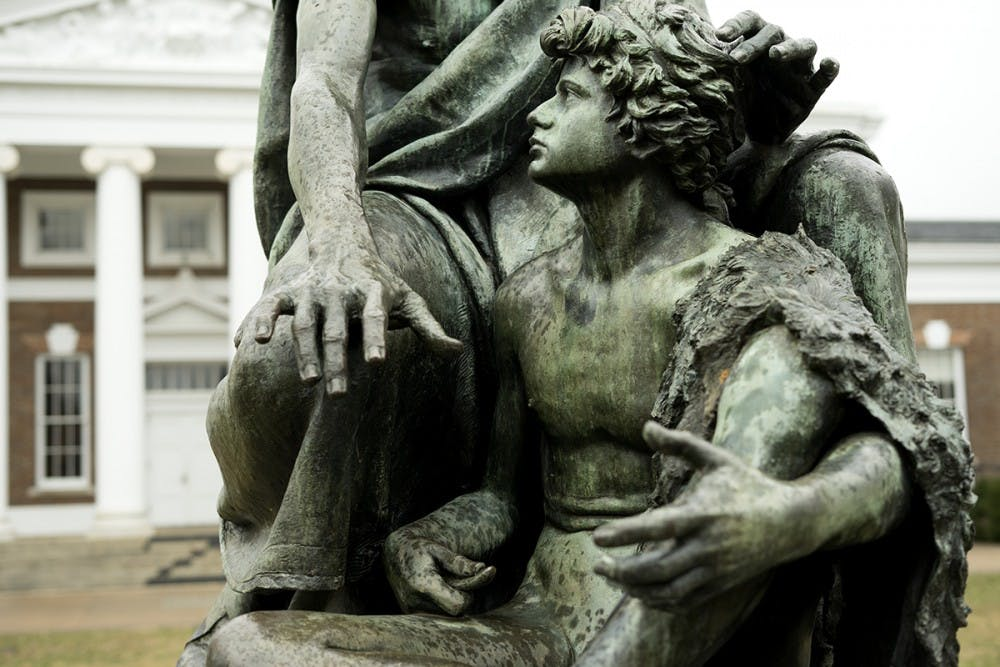 <p>The student guide on the Homer Statue is now missing his lyre.&nbsp;</p>