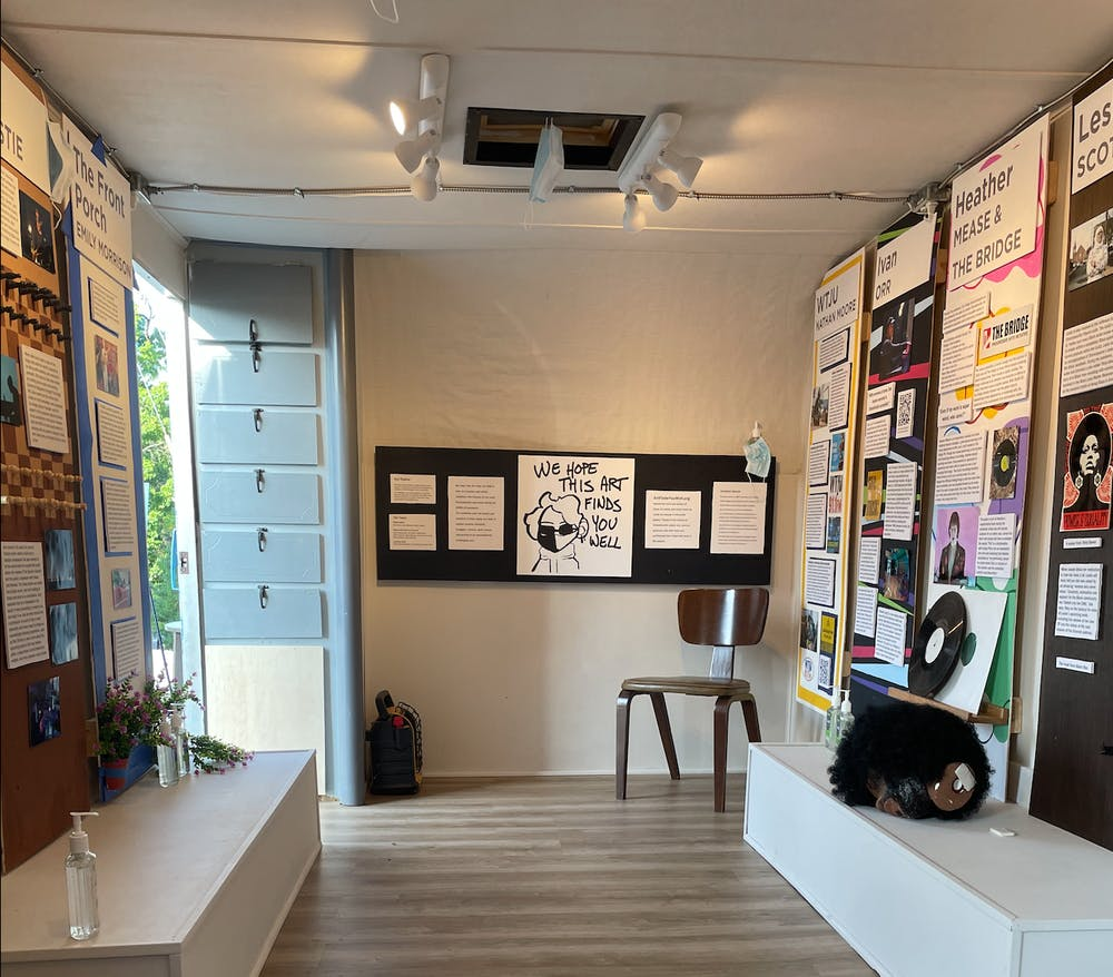 <p>The exhibition itself is packed into a refurbished antique camper made into a gallery, located behind the WTJU radio station on Ivy Road.</p>