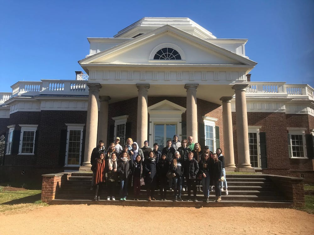 <p>The International Buddy Program, composed of University students and exchange students from around the globe, at Monticello earlier this fall.&nbsp;</p>