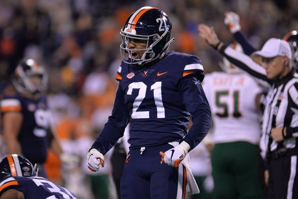 <p>Senior safety Juan Thornhill had two interceptions for the Cavaliers against Miami Saturday night.</p>