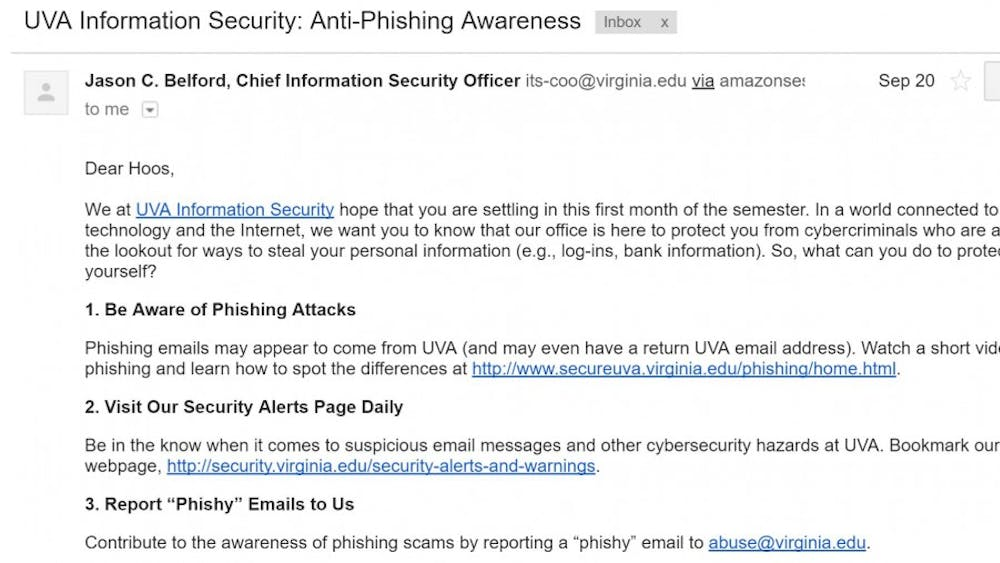 One way the University helps students improve their cybersecurity is with anti-phishing training emails.