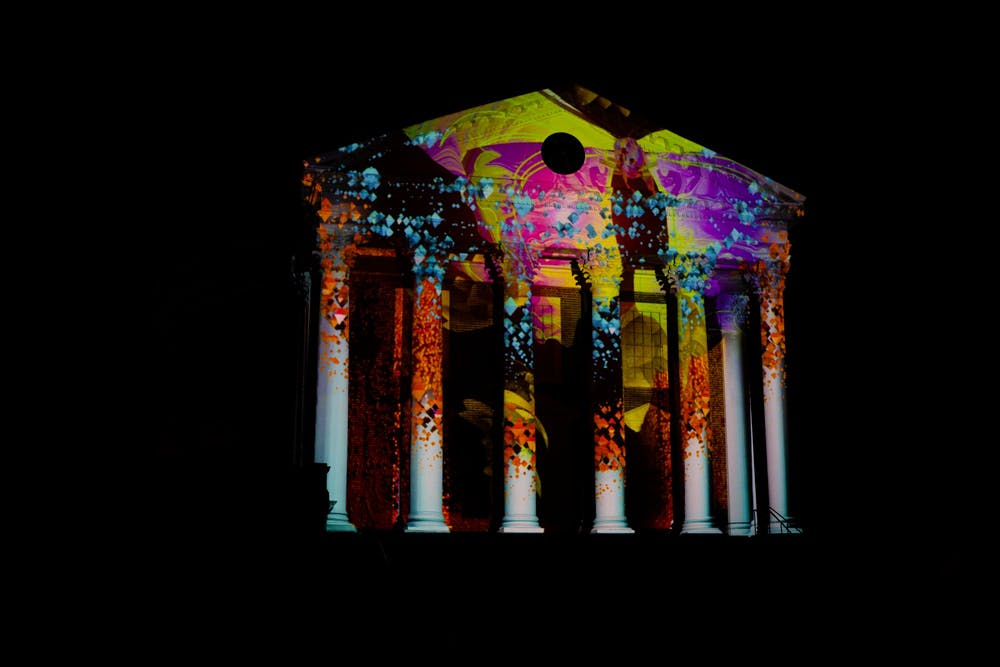<p>Light projects by local artist Jeff Dobrow lit up the Rotunda exterior on March 19 and 20.</p>