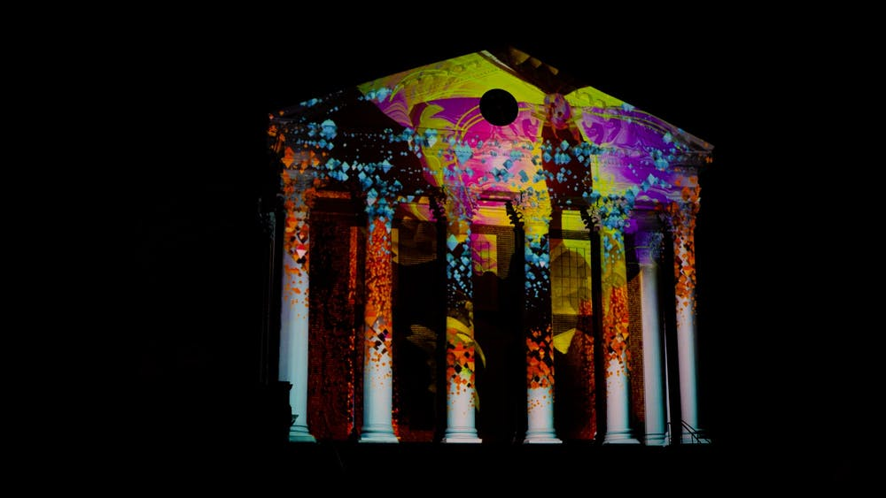 Light projects by local artist Jeff Dobrow lit up the Rotunda exterior on March 19 and 20.